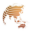 earth globe with orange striped world land map vector image vector image