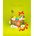 Easter background with Easter eggs in basket vector image vector image