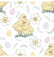 easter pattern with cute chicken vector image