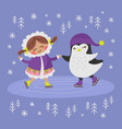 eskimo girl and penguin flat design vector image vector image