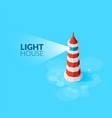 flat isometric red lighthouse icon on blue sea vector image vector image