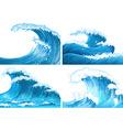 Four scenes of ocean waves vector image