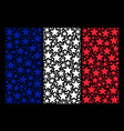 france flag mosaic of fireworks star icons vector image