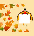 funny turkey with a blank white banner on a vector image