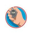hand holding digital stopwatch retro style vector image vector image