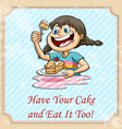 Have your cake and eat it too vector image vector image