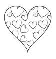 hearts inside heart frame sketch vector image