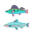jack dempsey marine fish set vector image