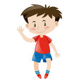 little boy in red greeting hello vector image