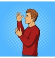Man gesturing and argues pop art vector image