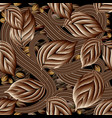 modern brown 3d coffee beans seamless pattern vector image
