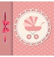 pink baby carriage for newborn girl vector image
