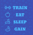 poster for gym with fitness workout icons vector image vector image
