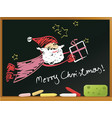 school blackboard with santa claus vector image