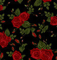 seamless floral pattern with red roses vector image vector image