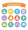 Set of flat law and justice icons vector image