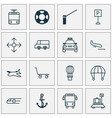 shipping icons set with school bus navigation vector image vector image