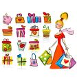 shopping for gifts vector image