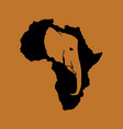 silhouette of black africa with brown elephant vector image