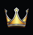 silver and gold crown logo vector image vector image
