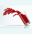 splash of strawberry juice from a falling glass vector image vector image
