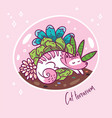 succulent garden terrarium with cute kawaii cat vector image vector image