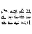 things that people do on bed cliparts depict man vector image vector image