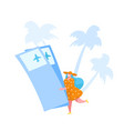 tiny female character in summer dress and hat vector image vector image