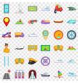 transportation icons set cartoon style vector image vector image