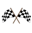 Two crossed black and white checkered flags vector image