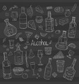 vintage alcohol big collection on black vector image vector image