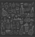 vintage alcohol big collection on black vector image