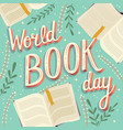 world book day hand lettering typography modern vector image vector image