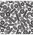 background pattern with tires and checkered flags vector image