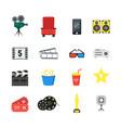 cartoon cinema color icons set vector image