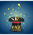 Magic hat and wand with sparkles vector image