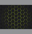 dark gray and yellow hexagons modern geometrical vector image