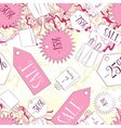 Seamless pattern with sale labels and fashion vector image