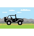 SUV rides on background of mountains vector image