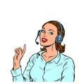 a female telecom operator telephone support vector image