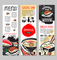 banners set for sushi or seafood restaurant vector image vector image