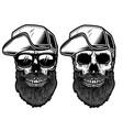 bearded skull in baseball cap in engraving style vector image vector image