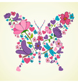 Beautiful spring flowers butterfly shape vector image vector image