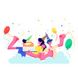 birthday party group cheerful people in festive vector image vector image