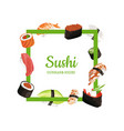 cartoon sushi types vector image