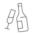 champagne thin line icon alcohol and drink vector image vector image