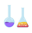 chemical experiment laboratory equipment flasks vector image vector image