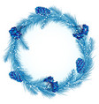 Christmas wreath in blue vector image vector image