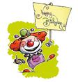 Clown Hoding a Happy Birthday Plackard vector image vector image