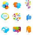 collection of social media and network icons vector image vector image